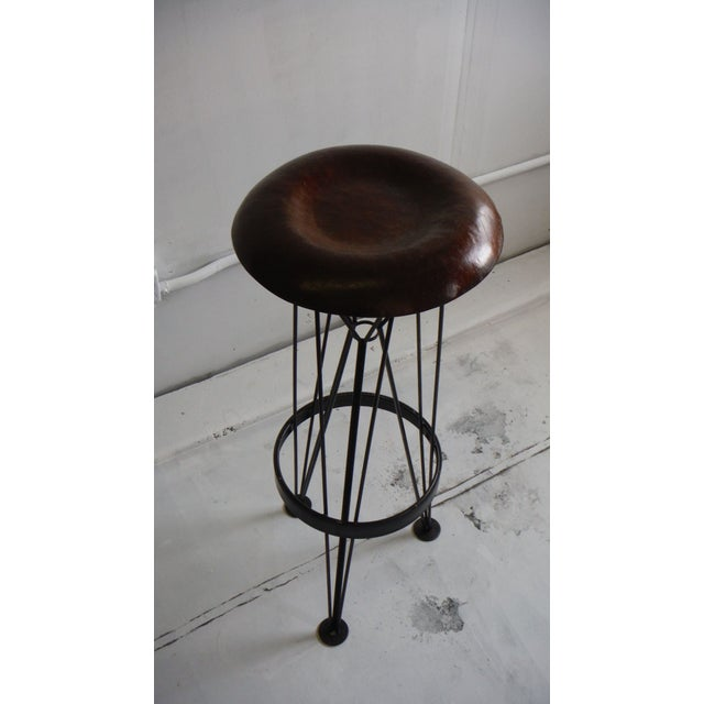 Mid-Century Modern Hammered Steel Bar Stool For Sale - Image 3 of 6