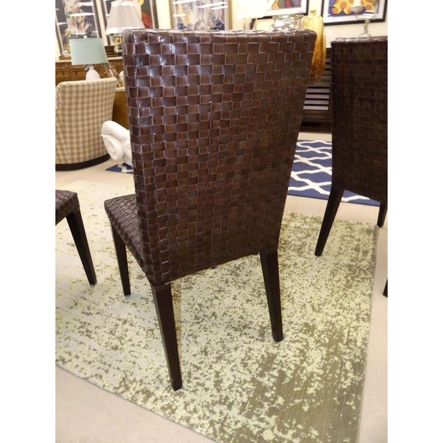 Stone International Stone International Modern Italian Woven Leather Dining Chairs- Set of 4 For Sale - Image 4 of 13