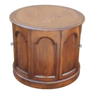 Mid-Century Walnut Drum Table For Sale
