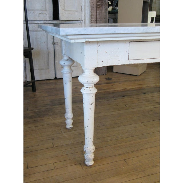 Late 19th Century Antique 19th Century Refectory Table With Venatino Marble Top For Sale - Image 5 of 9