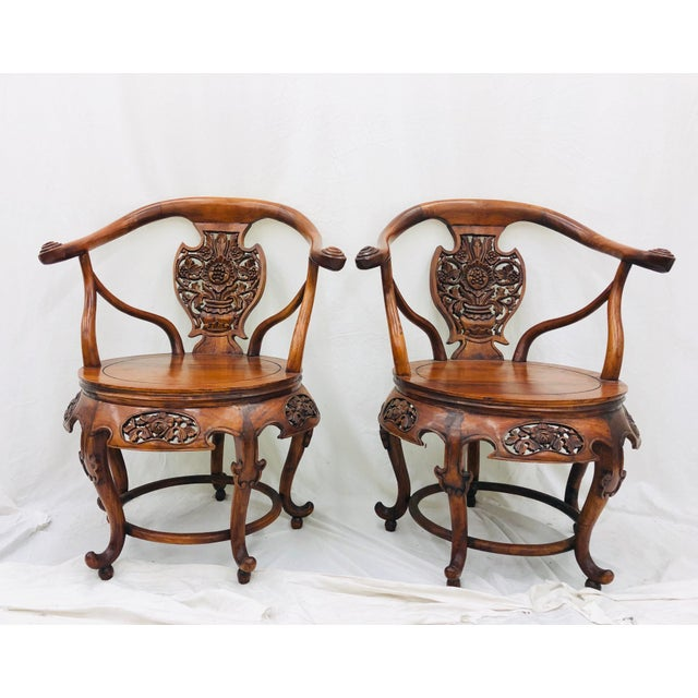 Anglo-Indian Pair Antique Carved Arm Chairs For Sale - Image 3 of 13