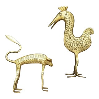 Brass MCM Monkey & Bird Figurine Sculptures a Pair For Sale