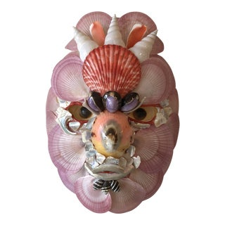 Boho Chic Paper Mache and Shell Decorative Mask