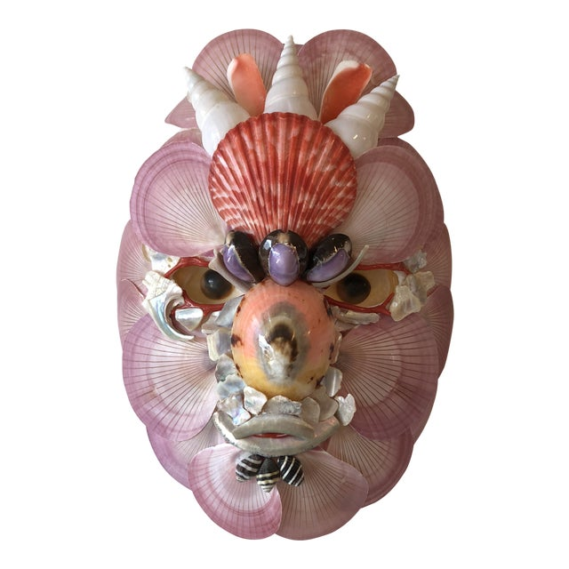 Boho Chic Paper Mache and Shell Decorative Mask For Sale