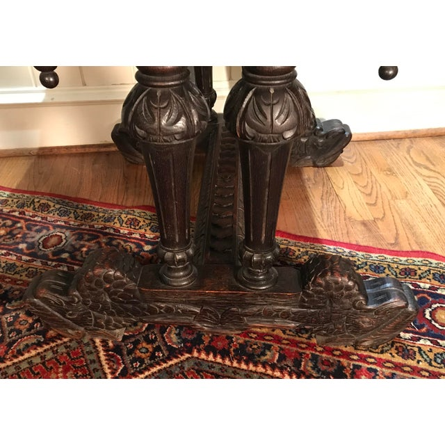 Wood 19th Century French Renaissance Dolphin Table Desk For Sale - Image 7 of 11