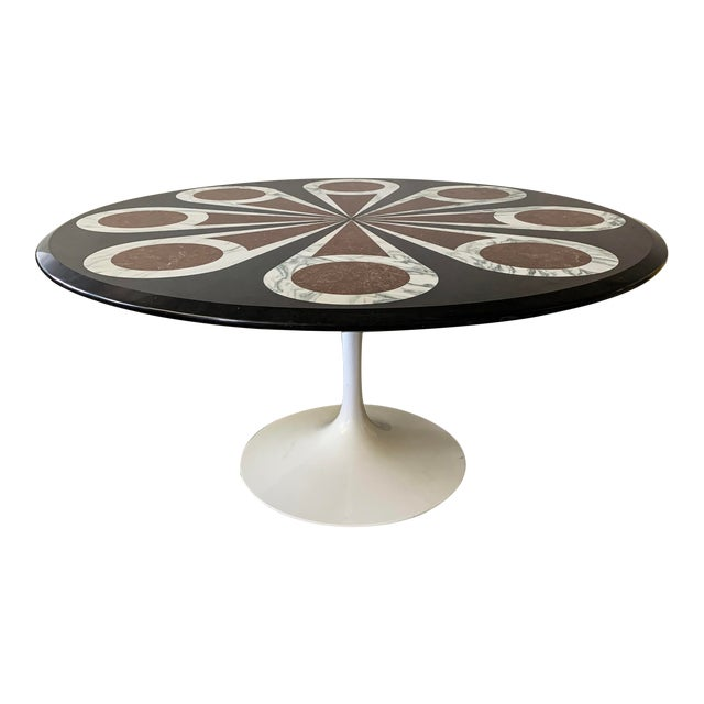 Custom Designed Marble Inlay Knoll Saarinen Dining Table For Sale