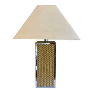 Natural Fiber & Chrome Table Lamp For Sale