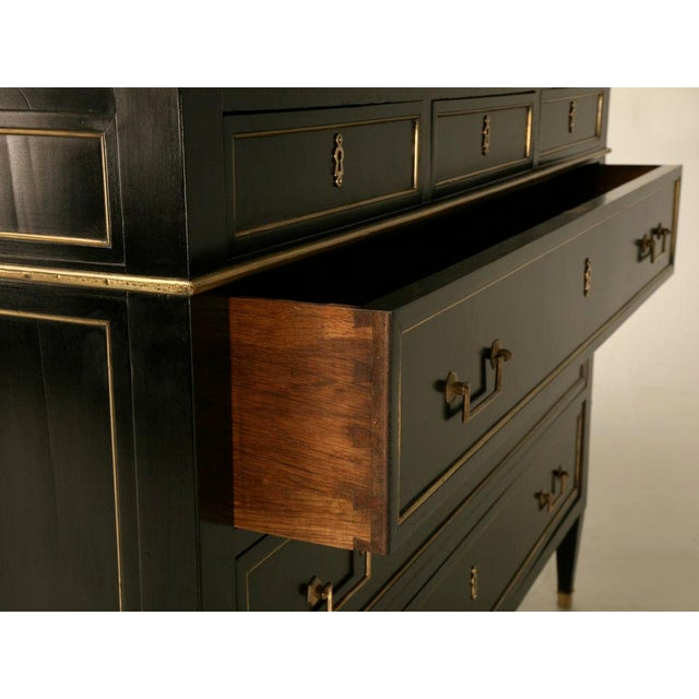 Antique French Louis XVI Ebonized Mahogany 3 over 3 Commode w/Marble For Sale - Image 4 of 10