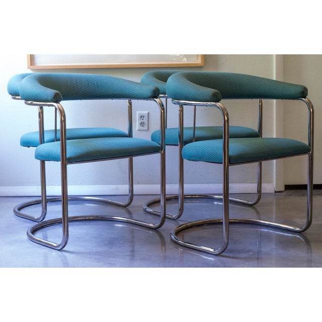 Thonet Tubular Chrome Teal Dining Chairs- Set of 4 - Image 3 of 9