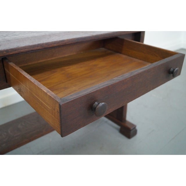 Antique Mission Oak Library Table - Image 6 of 10