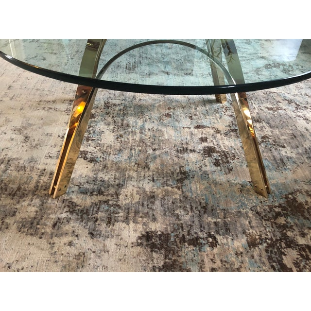 Gold Glass Top Coffee Table For Sale - Image 8 of 9