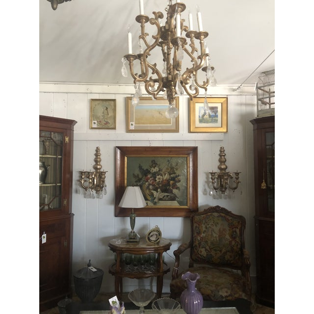Wood Giltwood Chandelier With Very Large Rock Crystals For Sale - Image 7 of 13