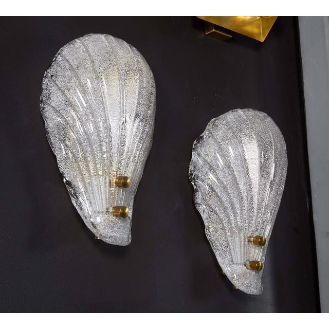 Brass Pair of Murano Shell Glass Sconces by Barovier & Toso For Sale - Image 7 of 11