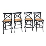 Image of Furniture Classics Black and Rattan Bentwood Counter Stools - Set of 4 For Sale