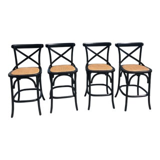 Furniture Classics Black and Rattan Bentwood Counter Stools - Set of 4 For Sale