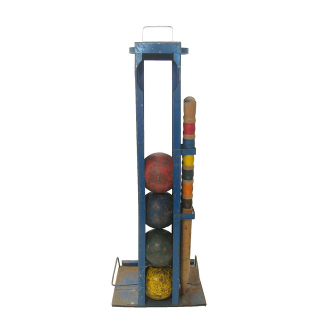 American Classical Vintage Croquet Game for Four w/ Stand For Sale - Image 3 of 5