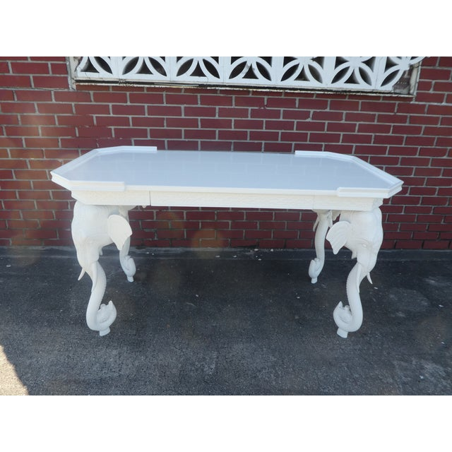 Vintage 70's Gampel Stoll white lacquer elephant desk/console with drawer. Sold as found in vintage condition .