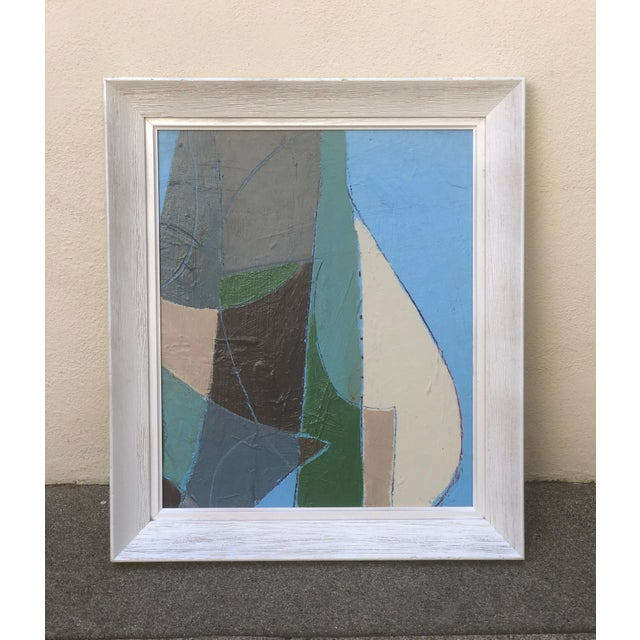 Fun cubist style vintage abstract painting signed Jose Jimenez. Acrylic on board, likely 1970s. Great colors and...