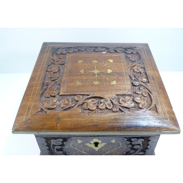 Vintage Moroccan Style Hand Carved Inlay Wood Box W Key - Image 5 of 11