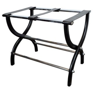 Mid-Century Modern Stylized X-Form Luggage Rack in Ebonized Walnut & Chrome For Sale