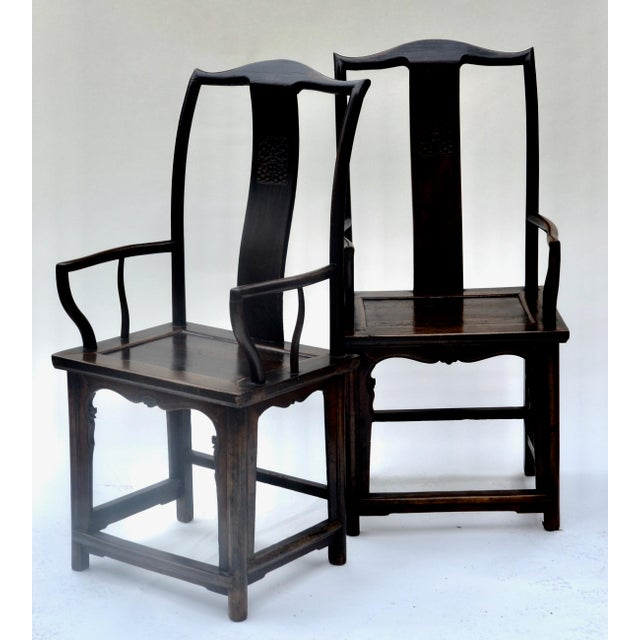 Antique Pair Tall Chinese Scholar Chairs For Sale - Image 4 of 12