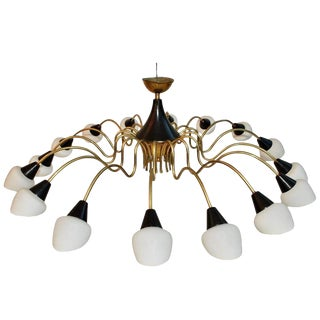 Brass Chandelier Design by Stilnovo with White Shades For Sale