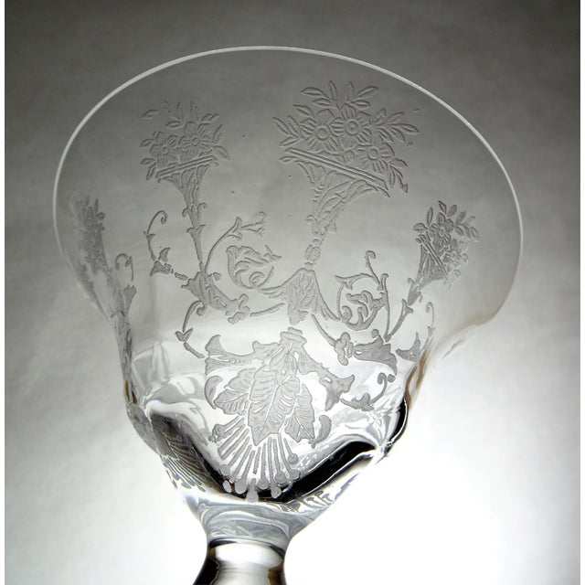 1950s 1960s French Style Etched Champagne Glasses - Set of 4 For Sale - Image 5 of 9