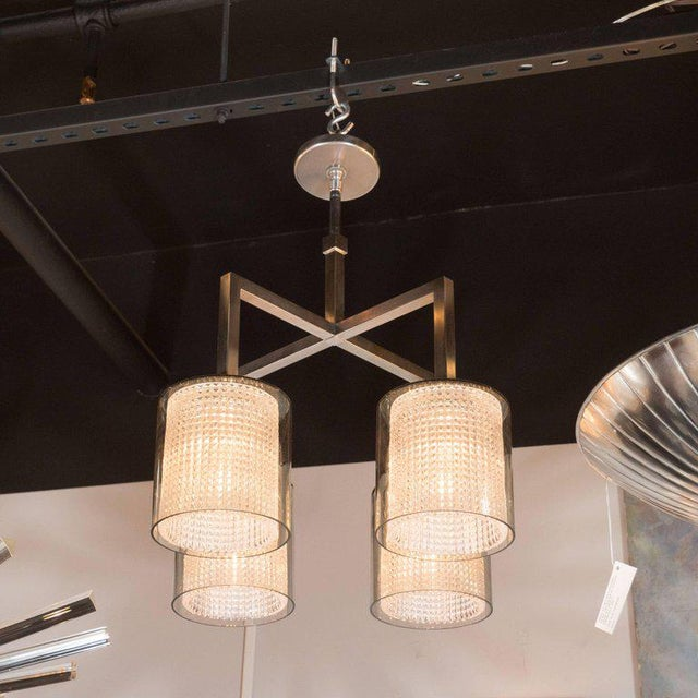 This refined chandelier was realized by the esteemed Swedish designer Carl Fagerlund for Orrefors, circa 1960. It features...