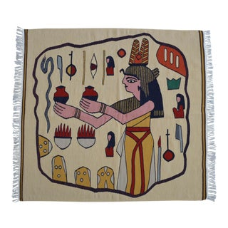 "Egyptian Beauty Hieroglyphs Theme Handwoven Kilim Rug - 3'1"" X 3'5"" For Sale"