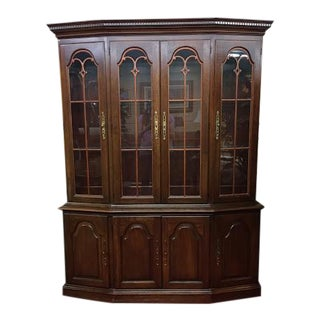 Vintage Pennsylvania House Cherry Wood Scroll Work Door China Cabinet For Sale