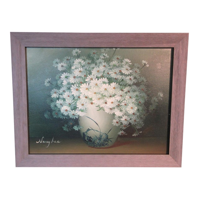 "Original ""Daisies"" Oil on Canvas Painting Signed by Nancy Lee For Sale"