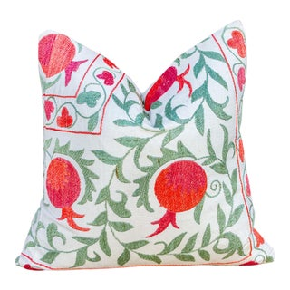 Anar Pomegranate & Green Ivy Uzbek Suzani Pillow For Sale