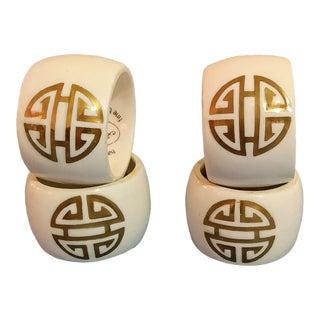 Pintar Bone China Greek Symbol Napkin Rings - Set of 4 For Sale