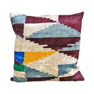 Kim Salmela Multi Geometric Turkish Silk Velvet Ikat Throw Pillow For Sale