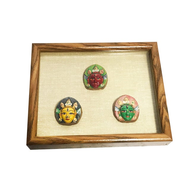 Vintage Mid-Century Hand Painted Shiva Third Eye Sculptures Framed in Shadow Box For Sale