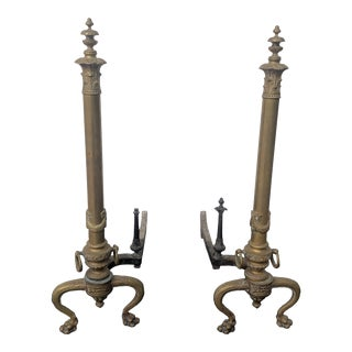 Ornate French Brass Fireplace Andirons For Sale