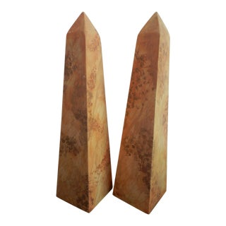 Contemporary Hardwood Faux Painted Obelisks - a Pair For Sale