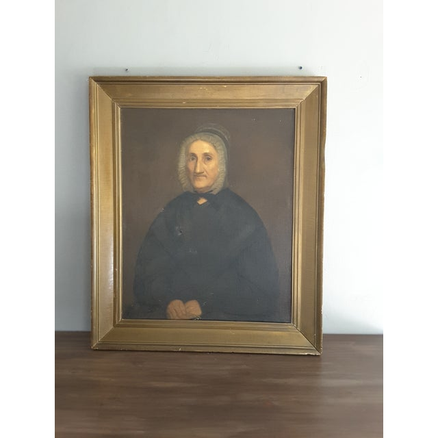 Large 19th century old maiden portrait. Antiqued oil painting print on board in period frame.