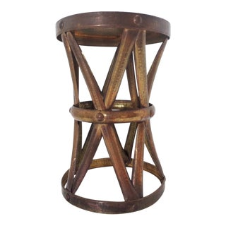 Vintage Hammered Brass Tall Accent Table Garden Stool Plant Stand For Sale