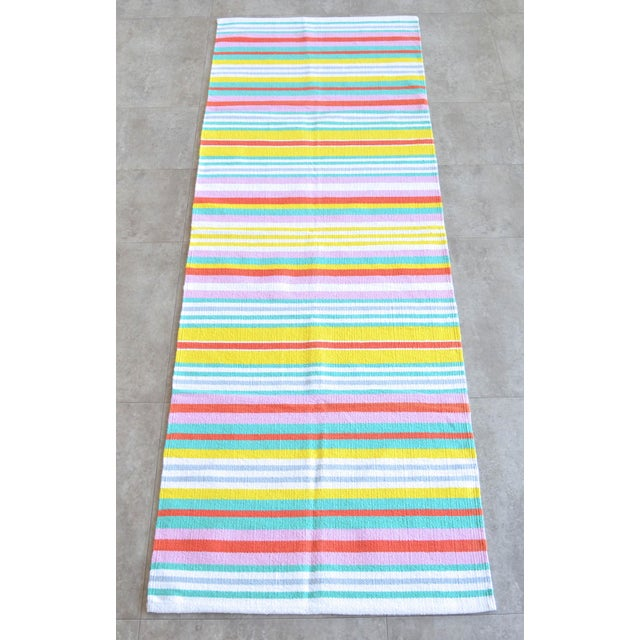 Mid-Century Modern Hand-Made Rug Striped Zara Home Cotton Runner Rug - 2′4″ × 6′8″ For Sale - Image 3 of 9