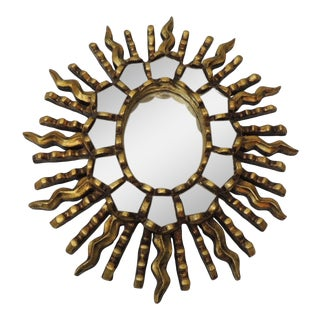 Vintage Small Gold Leaf on Wood Oval Sunburst Peruvian Mirror For Sale