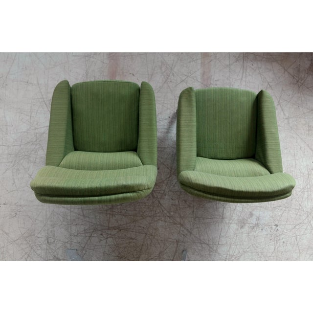 Danish Illum Wikkelso Style High and Low Lounge Chairs by Leif Hansen - a Pair For Sale - Image 12 of 13