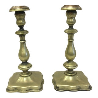 Brass Plated Candle Sticks-A Pair For Sale