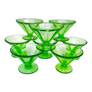 Antique Uranium Glass Optic Panel Sherbet Bowl or Champagne Saucer- Set of 8 For Sale