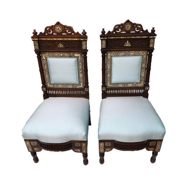 Lights Museum Pieces 19th C Moorish Pair of Chairs For Sale - Image 7 of 12