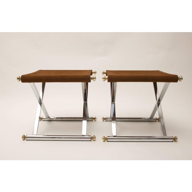 Pair of Hollywood-Regency X-Base Stools, Polished Chrome, Brass and Faux Suede - Image 7 of 11