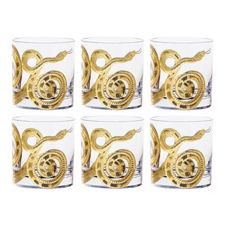 Cabinet of Curiosities Double Old Fashioned Glasses, Set of 6 Snake, Gold For Sale