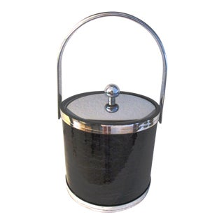 1970s Kraftware Silver & Black Faux Marble Ice Bucket For Sale