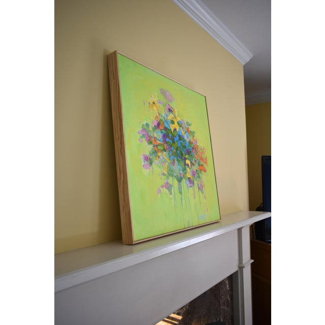 Acrylic Stephen Remick Abstract Bouquet on Green Background Painting For Sale - Image 7 of 11