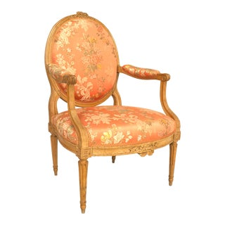 French Louis XVI Pink Floral Arm Chair For Sale